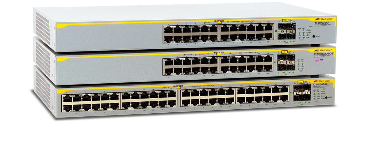Allied Telesis 8000GS Series The 8000GS Series Gigabit Ethernet switches are low-cost, managed, and stackable, specifically designed for use in an open office or retail store environment.