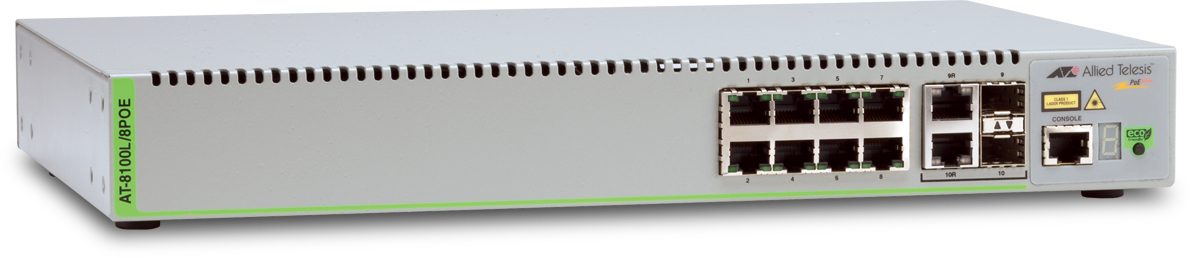 Allied Telesis 8100L/8POE-E Ruggedized extended temperature Fast Ethernet switch