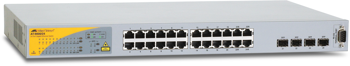Allied Telesis 9000/24 10/100/1000T x 24 ports managed Gigabit Ethernet switch with 4 SFP combo ports