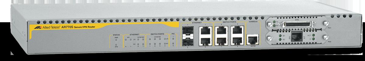 Allied Telesis AR770 4 x 10/100/1000T LAN ports, 2 x 10/100/1000T / SFP combo WAN ports, 2 x PIC slots, 1 x console port