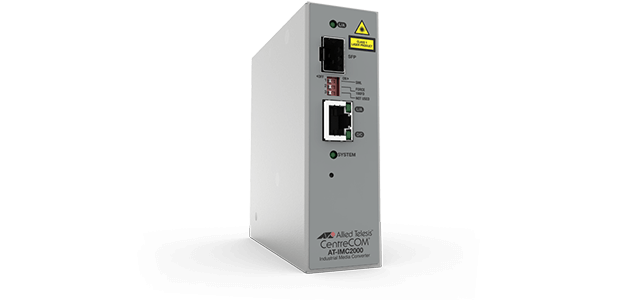 Allied Telesis IMC2000T/SP 10/100/1000T to 100mb/1000mb SFP Industrial temp media converter. These converters feature Smart Missing Link, jumbo frames & are fanless for silent operation.