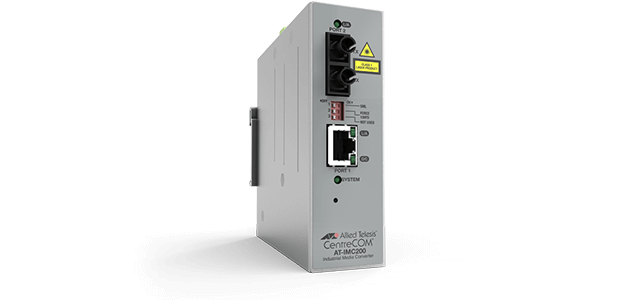 Allied Telesis IMC200T/SC 10/100/1000T to 100FX/SC Industrial temp media converter. These converters feature Smart Missing Link, jumbo frames & are fanless for silent operation.