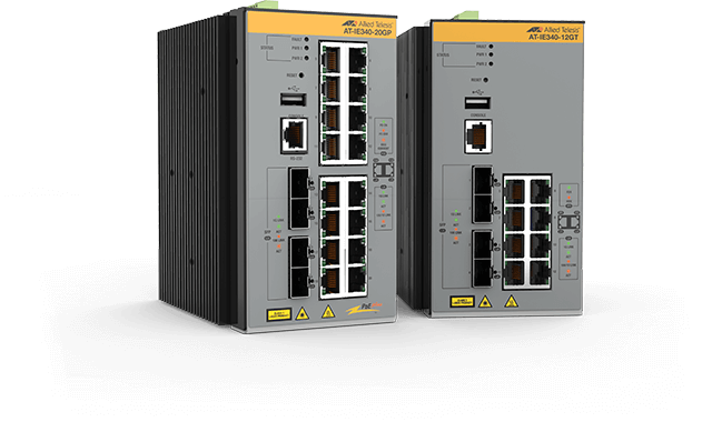 Allied Telesis IE340 Series The Allied Telesis IE340 managed Industrial Ethernet Layer 3 switches feature 16 x 10/100/1000T PoE+ copper ports and 4 x 100/1000X SFP uplink.
