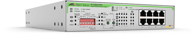 Allied Telesis GS920/8PS The Allied Telesis GS920/8PS is an 8-port 10/100/1000T POE + ports unmanaged DIP switch with integrated PSU. Offering secure, Unmanage Gigabit switching.