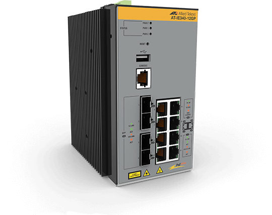 Allied Telesis IE340-12GP 8x 10/100/1000T, 4x 100/1000X SFP, Industrial Ethernet, Layer 3 Switch, PoE+ Support
