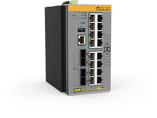 Allied Telesis IE340-20GP 16x 10/100/1000T, 4x 100/1000X SFP, Industrial Ethernet, Layer 3 Switch, PoE+ Support