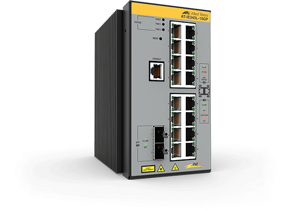 Allied Telesis IE340L-18GP 16x 10/100/1000T, 2x 1000X SFP, Industrial Ethernet, Layer 3 Switch, PoE+ Support