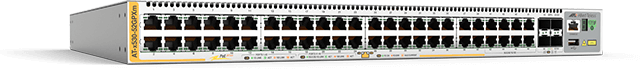 Allied Telesis x530-52GPXm 40 x 100M/1G and 8 x 100M/1G/2.5G/5G PoE+ port stackable switch with 4 SFP+ ports and 2 x fixed PSU