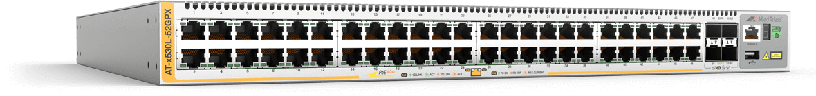 Allied Telesis x530L-52GPX 48-port 10/100/1000T PoE+ stackable switch with 4 SFP+ ports and 2 fixed power supplies