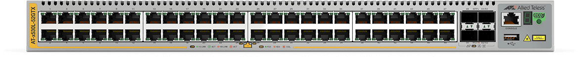 Allied Telesis x530L-52GTX 48-port 10/100/1000T stackable switch with 4 SFP+ ports and 2 fixed power supplies alternate 1