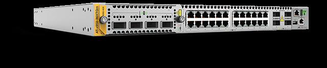 Allied Telesis x950-28XTQm 24 x 1/2.5/5/10G Ethernet ports, 4 x 40G/100G QSFP+/QSFP28 ports, a XEM bay, and dual hotswap PSU and Fan bays