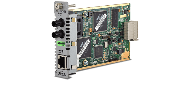 Allied Telesis CM301 10/100TX to 100FX/ST media and rate converter line card for the Converteon™ Series