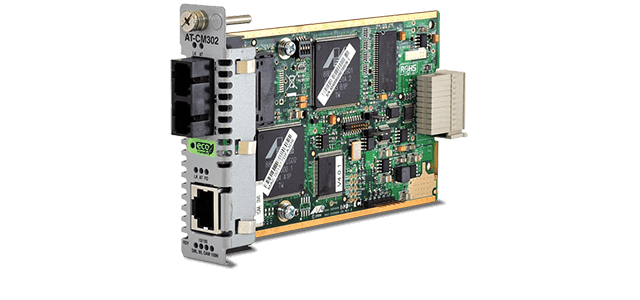 Allied Telesis CM302 10/100TX to 100FX/SC media and rate converter line card for the Converteon™ Series