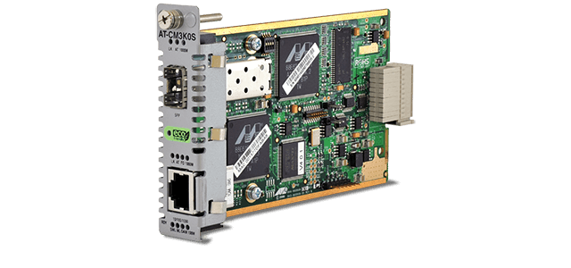 Allied Telesis CM3K0S 10/100/1000T to 100/1000X (SFP) media and rate converter line card for the Converteon™ Series.