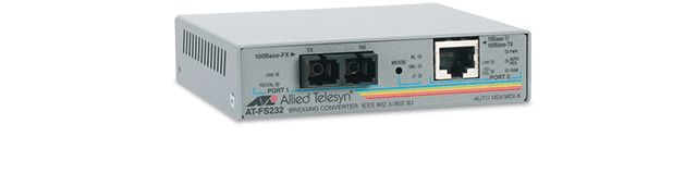 Allied Telesis FS232 10/100TX to 100FX (SC) media and rate converter