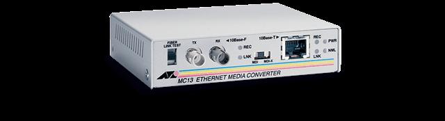 Allied Telesis MC13 UTP to fiber ST Ethernet media converter