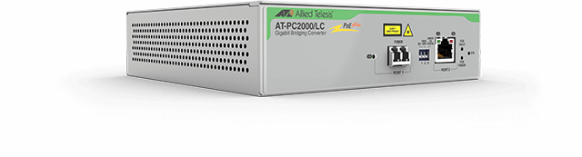 Allied Telesis PC2000/LC 10/100/1000T PoE+ to 1000SX/LC media and rate converter