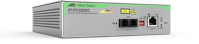 Allied Telesis PC200/SC 10/100/1000T PoE+ to 100FX/SC media and rate converter