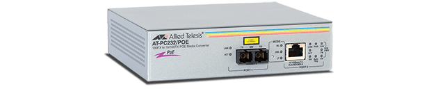 Allied Telesis PC232/POE Two-port Fast Ethernet Power over Ethernet switch, 10/100TX to 100FX (SC), 2km