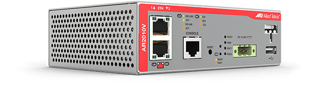 Allied Telesis AR2010V The AR2010V Compact Secure VPN Routers are ideal for secure M2M (machine-to-machine) connectivity, supporting modern IoT and Smart City deployments.
