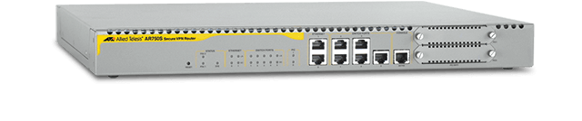 Allied Telesis AR750S-DP 5 x 10/100T LAN ports, 2 x 10/100T WAN ports, 2 x PIC slot, 1 x console port, Dual hot-swappable PSUs