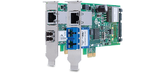 Allied Telesis 2911GP Series PCI-Express Dual Port PoE+ adapters let you power a VoIP phone or other powered device from your PC.