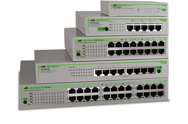 Allied Telesis FS700 Series The FS700 Series switches are the economical and eco-friendly solution for today's IT networks, providing an extensive range of cost-effective options.