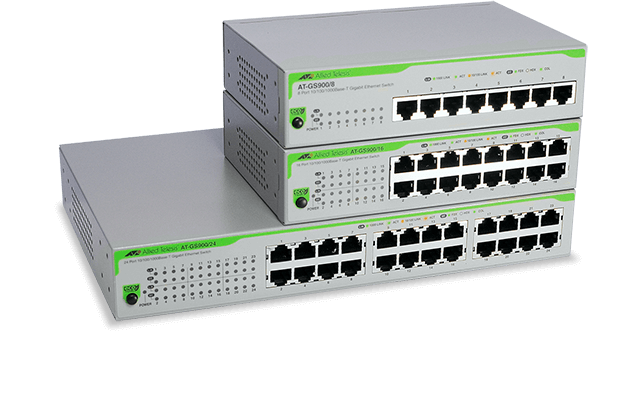 Allied Telesis GS900 Series The GS900 Series switches offer unmanaged Gigabit Ethernet switching solutions for the desktop and small networks. Learn more now!