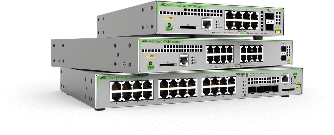Allied Telesis CentreCOM GS970M Series Allied Telesis CentreCOM® GS970M Layer 3 Gigabit switches offer an impressive set of features in a compact design, making them ideal for applications at the network edge.