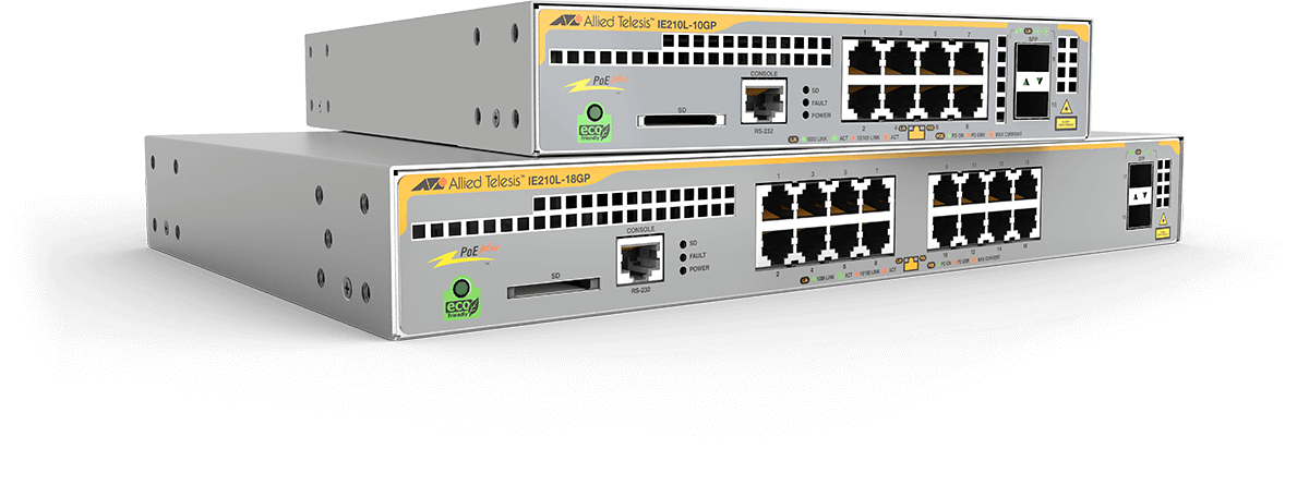 Allied Telesis IE210L Series The IE210L Series Gigabit Layer 2 switches are designed for enduring performance at high ambient temperatures, making them ideal for lite industrial environments.