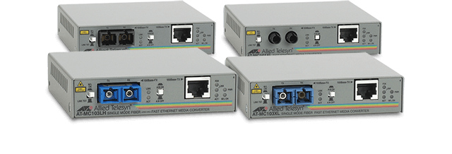 Allied Telesis MC100 Series These fast ethernet media converters extend the size of UTP networks with the use of fiber cabling.