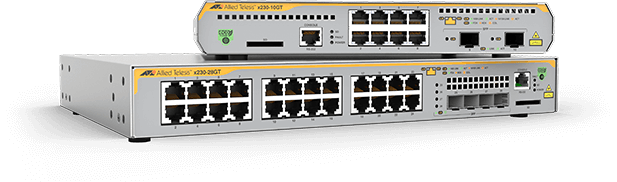 Allied Telesis x230 Series The x230 Series of Layer 3 Gigabit switches offer an impressive set of features in a compact design, making them ideal for applications at the network edge.