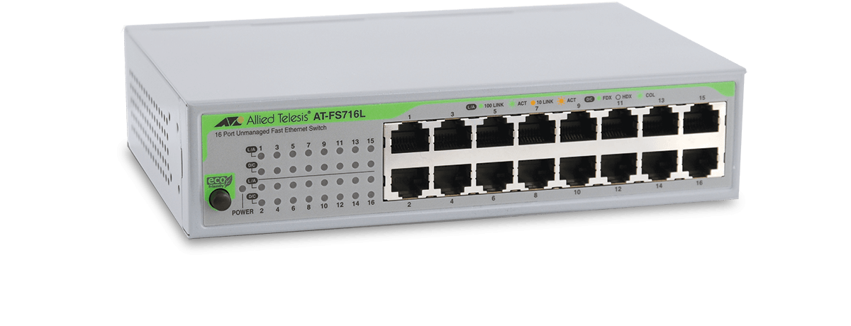 Fs716l Unmanaged Fast Ethernet Switch Allied Telesis