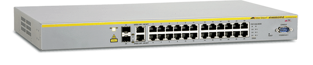 Allied Telesis 8000S/24POE 24-port stackable 10/100TX PoE Layer 2 switch with 2 active SFP bays (unpopulated) and 2 standby 10/100/1000T ports (RJ-45)