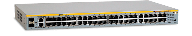 Allied Telesis 8000S/48 48-port stackable 10/100TX Layer 2 switch with 2 active SFP bays (unpopulated) and 2 standby 10/100/1000T ports (RJ-45)