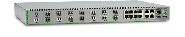 Allied Telesis 8100S/16F8-LC 16 100M fiber LC ports, 8-port 10/100TX, 2 combo ports (10/100/1000T-100/1000 SFP), 2 HDMI stacking ports, standard two AC power supplies