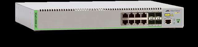 Allied Telesis 9000/12POE 8 x 10/100/1000T RJ-45 ports, 4 SFP ports (4 x 100/1000FX ports), internal single AC power supply
