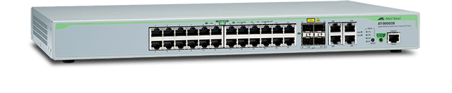 Allied Telesis 9000/28 24 ports 10/100/1000T fixed configuration and four additional 100/1000Mbps SFP ports