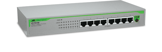 Allied Telesis FS708 8-port 10/100TX unmanaged switch with internal power supply