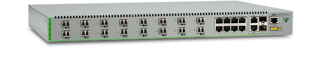 Allied Telesis FS970M/16F8-LC 16-port 100FX and 8-port 10/100TX Fast Ethernet Managed Access Fiber Switch with 2 Gigabit/SFP combo uplinks and two fixed AC power supplies