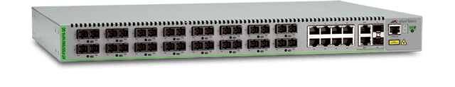 Allied Telesis FS970M/16F8-SC 16-port 100FX (SC) MMF and 8-port 10/100TX Fast Ethernet Managed Access Fiber Switch with 2 Gigabit/SFP combo uplinks and two fixed AC power supplies