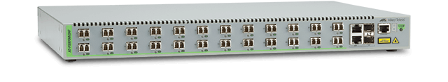 Allied Telesis FS970M/24F 24-port 100FX (LC) MMF and 8-port 10/100TX Fast Ethernet Managed Access Fiber Switch with 2 Gigabit/SFP combo uplinks and two fixed AC power supplies