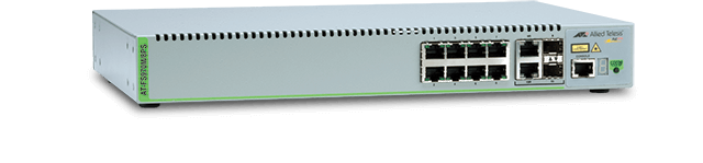 Allied Telesis FS970M/8PS 8-port 10/100TX Fast Ethernet Managed PoE+ Access Switch with 2 Gigabit/SFP combo uplinks and one fixed AC power supply