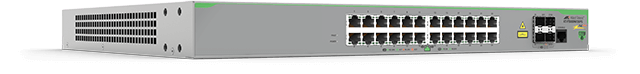 Allied Telesis FS980M/28PS 24-port 10/100TX PoE+ stackable switch with 4 x 100/1000X SFP uplink/stacking ports.