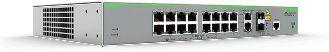 Allied Telesis FS980M/18 16-port 10/100TX switch with 2 combo (10/100/1000T or 100/1000X SFP) uplink ports. (*available November 2016)