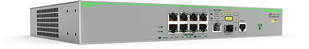 Allied Telesis FS980M/9PS 8-port 10/100TX PoE+ switch with 1 combo (10/100/1000T or 100/1000X SFP) uplink port. (*available Q1 2017)