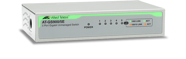 Allied Telesis GS900/5E 10/100/1000T x 5 ports unmanaged Gigabit switch w/ ext PSU and plastic enclosure