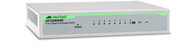 Allied Telesis GS900/8E (v3) 10/100/1000T x 8 ports unmanaged Gigabit switch w/ ext PSU and plastic enclosure