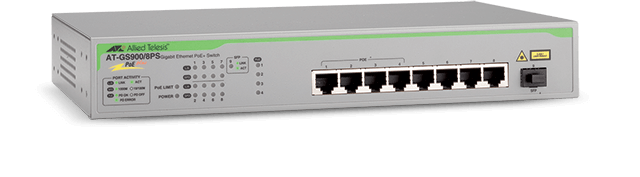 Allied Telesis GS900/8PS 8-port 10/100/1000T unmanaged switch, with PoE