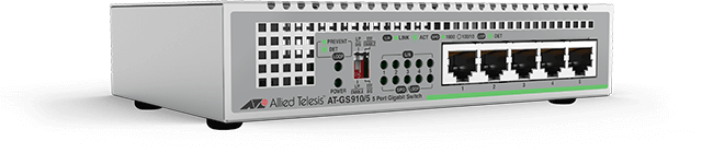 Allied Telesis GS910/5 5-port 10/100/1000T unmanaged switch with internal PSU